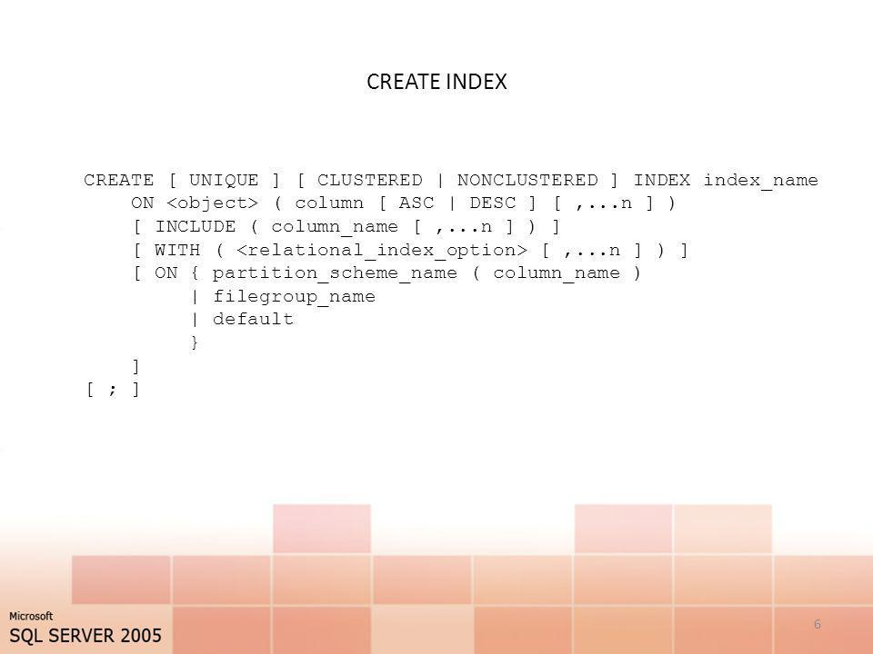 CREATE INDEX CREATE [ UNIQUE ] [ CLUSTERED | NONCLUSTERED ] INDEX index_name. ON <object> ( column [ ASC | DESC ] [ ,...n ] )